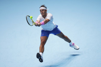 Rafael Nadal in action during the ATP World Tour Finals in London.