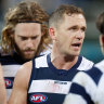 Cat's skipper Joel Selwood addresses his players during the match.
