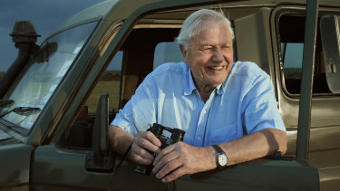 Sir David Attenborough on location in Kenya while filming for Seven Worlds, One Planet.