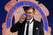 Ollie Wines of Port Adelaide poses after winning the 2021 Brownlow Medal.