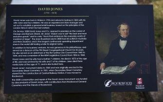 New information plaque at the memorial of department store founder David Jones in Rockwood Cemetery.