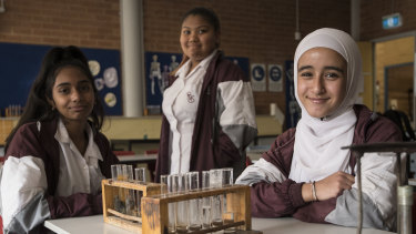 Salma El-Omar, Carryn Alexander, Showeta Singh are some of the first students to participate in the 10-year Generation STEM project.