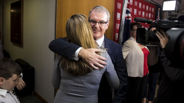 Michael Daley hugs his wife Christina after the NSW Labor Party leadership ballot.