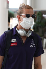 The new normal? A masked Nat Fyfe at Perth airport in March.