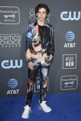 Graffiti god: Timothee Chalamet, at the Critics' Choice Awards, is one of the young stars taking over the awards' red carpet.