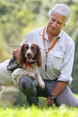 Bunya the K9 detection dog with his handler Brad Nesbitt from Canines for Wildlife.