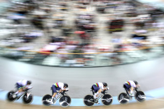 World champions Georgia Baker, Annette Edmondson, Ashlee Ankudinoff and Alexandra Manly won silver in the women's team pursuit.
