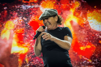 Brian Johnson during  AC/DC's 2015 Rock or Bust World Tour at Melbourne's Etihad Stadium.