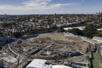 The demolition site of Sydney Football Stadium earlier this year.