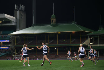 Geelong beat the Brisbane Lions at the SCG on Thursday. It was a Geelong home game