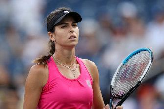 Ajla Tomljanovic of Australia reacts against Karolina Pliskova.
