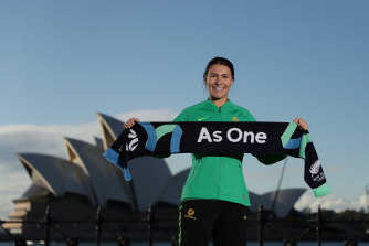 Matildas star Steph Catley celebrates the awarding of the 2023 Women's World Cup hosting rights to Australia and New Zealand. The tournament will be broadcast in Australia on Optus Sport.