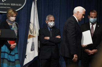Vice-President Mike Pence leaves Friday's briefing with the White House's Coronavirus Taskforce.