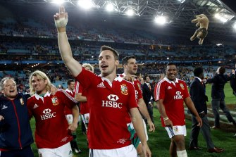 Lions players celebrating their 2013 series win over the Wallabies.