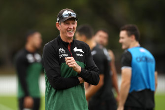 Wayne Bennett at South Sydney training before the season was suspended.