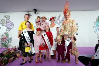 Capenteri Family (Michael, Rhianna and Leila, Elena and Nate) 1st place, Tamou Family (Brittney, Bronx and Boston) 2nd place and Donovan Family (Joanne and Anastasia) 3rd place in the Family Runway at The Park during 2019 Stakes Day at Flemington Racecourse on November 09, 2019 in Melbourne, Australia