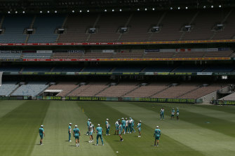 Australian players train at the MCG. The bubble has been looser for the team in Melbourne, but will tighten in Sydney and Brisbane.