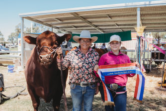 Kirrily Johnson Iseppi and her daughter Brooke with GK powerup, Supreme Bull.