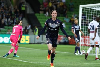 Josh Hope celebrates after scoring a goal against the Central Coast Mariners in November 2018.