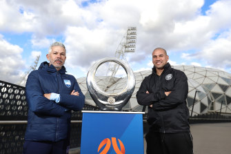 Melbourne City coach Patrick Kisnorbo, with Sydney FC coach Steve Corica, at an A-League grand final event at AAMI Park on Saturday.