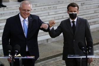 Prime Minister Scott Morrison with French President Emmanuel Macron in Paris.