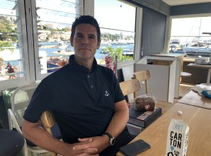 Humbled: Andrew Goldsmith at the new Boathouse site in Rose Bay on Thursday.