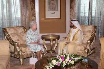Sheikh Mohammed with Queen Elizabeth II in Abu Dhabi; he is an acquaintance of the British monarch and owns a racing stable and an estate in the UK.