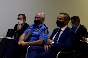 WA Chief Health Officer Andy Robertson, Police Commissioner Chris Dawson and Health Minister Roger Cook.