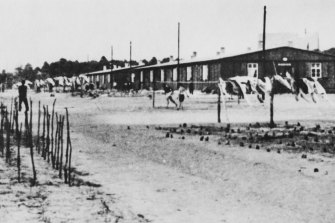 POWs at Stalag Luft III camp for captured air force servicemen in Lower Silesia (later Poland), during World War II, circa 1944.