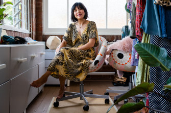 Eco fashion stylist Eve Wong in her front room where she shoots, styles and re-sells preloved clothes.