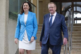 Queensland Premier Annastacia Palaszczuk and President of the Australian Olympic Committee John Coates speak to the media in Brisbane on Thursday.