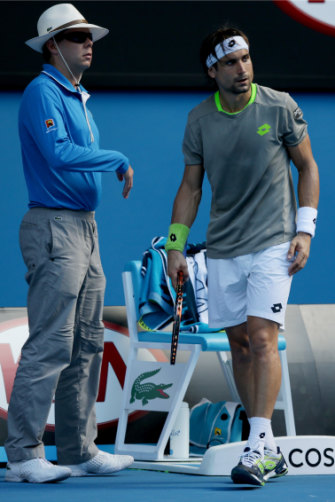David Ferrer and the linesman he pushed at the Australian Open in 2014.