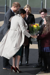 Meghan, the Duchess of Sussex, in shoes with a gap at the back in Ireland earlier this year.
