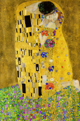 "Gustav Klimt's 1908 painting, ""The Kiss""."