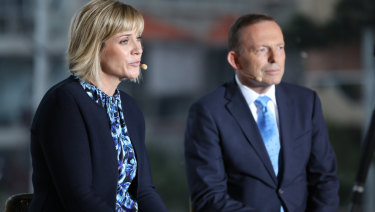 Steggall and Abbott during the debate.