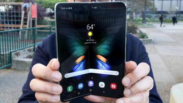 Opening Samsung's Galaxy Fold is a two-handed job, but closing it only takes one.