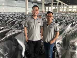 Vmoto chief executive Charles Chen and finance director Ivan Teo at the ASX-listed company's factory in Nanjing, China.