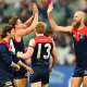 Max Gawn is all smiles after scoring in Melbourne's win over Geelong.