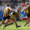 Young gun goes down for Hawks as Tigers keep Clarkson's men at arm's length