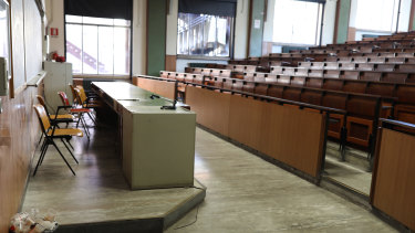An empty lecture hall at La Sapienza University in Rome, Italy.