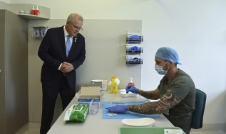 Mr Morrison watched a simulation of the vaccination process at RPA in Sydney on Friday.