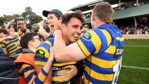 Grassroots: Sydney University star Nick Phipps celebrates winning this year's Shute Shield grand final.