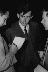 Mr. Barry Robinson, one of three young men who chased and caught a youth after the incident, talking to reporters outside the Town Hall. June 21, 1966.