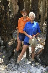 Hugh and Nan Nicholson in a fire-stricken area of Terania Creek in November.
