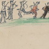 A drawing by Frank Burrowes, 6, of soldiers sent in a letter to his dad Bill who was at war in France in 1919.