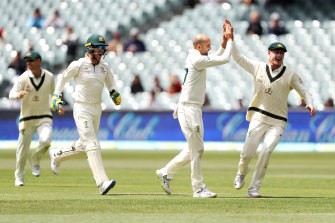 Hands up: Nathan Lyon runs riot on day four of the second Test with Pakistan.