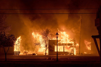 Buildings in flames as a wildfire passes through Talent, in central Oregon.