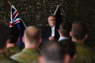 Prime Minister Scott Morrison speaks with special forces troops during a visit to Iraq last year.