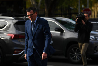 Daniel Andrews prepares to address the waiting media pack on Tuesday morning.