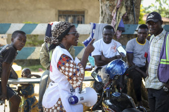 """Katungo Methya, 53, who volunteers for the Red Cross educating the public about epidemics, talks about coronavirus prevention in Beni, eastern Congo.  """"It's so upsetting to have this second disease. We lost so many people through Ebola, a lot of deaths, now corona,"""" she said. """"Everyone is really afraid."""""""